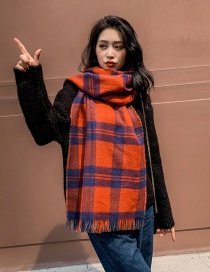 Fashion Orange Blue Plaid Cashmere Double Shawl Scarf