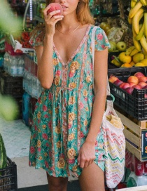 Fashion Green Rose Print V-neck Dress