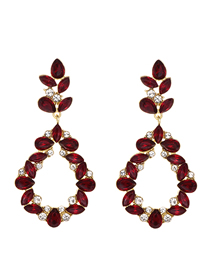 Fashion Red Wine Alloy Diamond Drop Shape Earrings