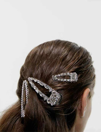 Fashion Silver Alloy Diamond Duckbill Hair Clip Set