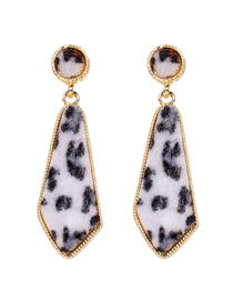 Fashion Black And White Alloy Leopard Fleece Triangle Diamond Earrings