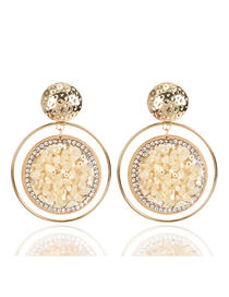 Fashion Creamy-white Beaded Gravel Earrings