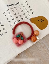 Fashion Orange Cherry Imitation Rabbit Hair Button Cherry Hair Rope