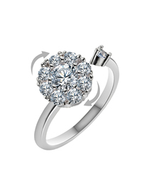 Fashion 34 Sterling Silver Rotating Opening Simulation Diamond Ring