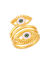 Fashion Gold Eye Opening Drip Three Ring Ring