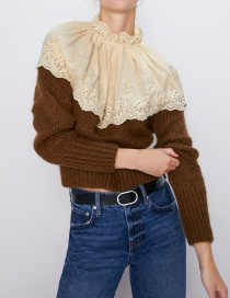 Fashion Brown Small Fragrance Embroidery Stitching Sweater