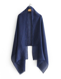 Fashion Navy Color Dot Print Scarf Shawl