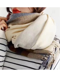 Fashion Beige Plaid Imitation Cashmere Fringed Double-sided Scarf Shawl