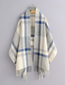 Fashion Blue Plaid Imitation Cashmere Fringed Scarf Shawl