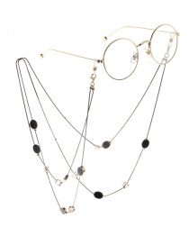 Fashion Black Crystal Oval Double Sweater Chain Glasses Chain Two Models