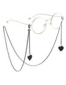 Fashion Black Hang Neck Heart Chain Glasses Chain