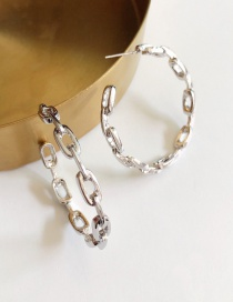 Fashion Silver (silver Needle) Oval Chain Large Hoop Earrings
