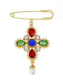 Fashion Color Cross Crystal Brooch
