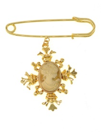 Fashion Gold Beauty Head Relief Face Brooch