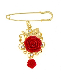 Fashion Red Rose Brooch