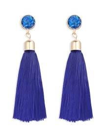 Fashion Blue Fringed Inlaid Acrylic Earrings