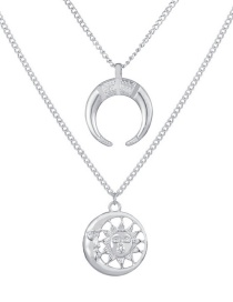 Fashion Silver Sun Moon Necklace