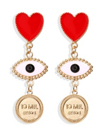Fashion Gold Love Eye Seal Heart Shaped Tassel Earrings
