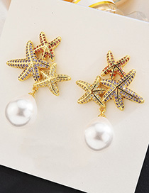 Fashion Gold S925 Sterling Silver Needle Micro-inlaid Zircon Multi-layer Starfish Pearl Earrings