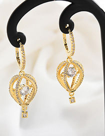Fashion Gold Crystal Confession Hot Air Balloon Earrings
