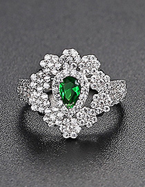 Fashion Green Openwork Flower Opening Copper Inlaid Zirconium Ring