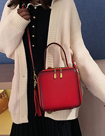 Fashion Red Fringe Shoulder Bag Diagonal Cross Package