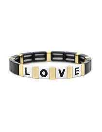 Fashion Black Letter Love Love Zinc Alloy Paint Bracelet