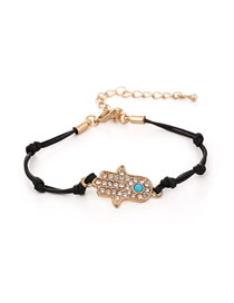 Fashion Black Alloy Diamond Palm Braided Bracelet