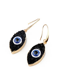 Fashion Black Eye-like Natural Stone Resin Earrings