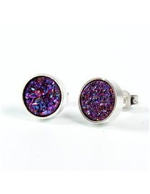 Fashion Silver Purple Round Natural Stone Earrings