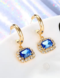 Fashion Blue Round Crystal Diamond Earrings