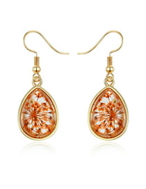 Fashion Orange Water Drop Dry Flower Resin Earrings