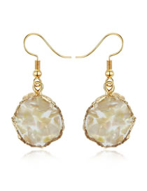 Fashion Yellow Irregular Gravel Shell Earrings