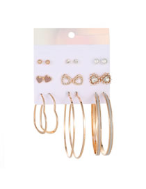 Fashion Gold Pearl-studded Heart-shaped Earrings Set