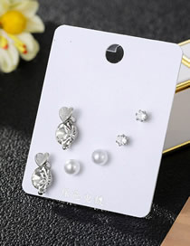 Fashion Silver Pearl Zircon And Diamond Earrings Set