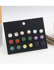 Fashion Color 9 Pairs Of Pearl Earrings