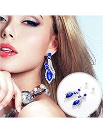 Fashion Blue Alloy Diamond Blue Drop Earrings