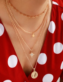Fashion Gold Alloy Round Character Image Star Multi-layer Necklace