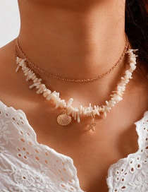 Fashion Gold Crushed Scallop Starfish Necklace