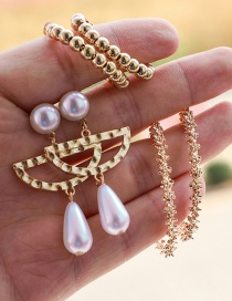 Fashion Gold Alloy Irregular Semi-circular Pearl Spiny Round Opening Earrings Set Of 3