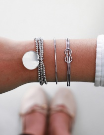 Fashion Silver Round Beaded Round Knotted Bracelet Set Of 3