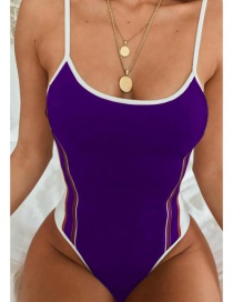 Fashion Purple Solid Color Mosaic One-piece Swimsuit