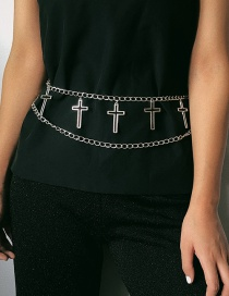 Fashion White K Geometric U-shaped Cross Multi-layer Chain Waist Chain