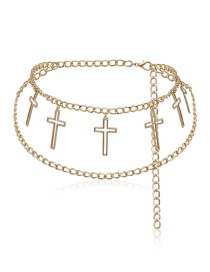 Fashion Gold Geometric U-shaped Cross Multi-layer Chain Waist Chain
