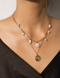 Fashion Gold Asymmetrical Embossed Imitation Pearl Multi-layer Necklace