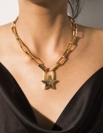 Fashion Gold Geometric Five-pointed Star Lock Necklace