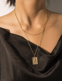 Fashion Gold Double Layer A Letter Tag Embossed Necklace