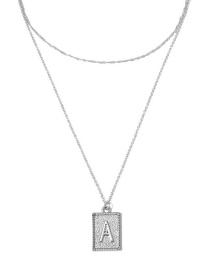 Fashion White K Double Layer A Letter Tag Embossed Necklace