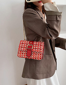 Fashion Red Woolen Chain Diagonal Shoulder Bag