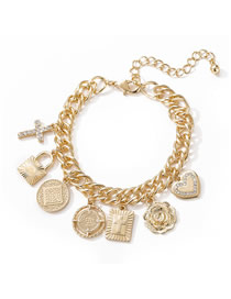 Fashion Gold Cross Heart And Diamond Geometric Chain Bracelet